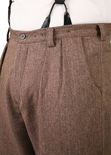 Historical Emporium Men's Wool Blend Herringbone Tweed Knickers 40 Brown