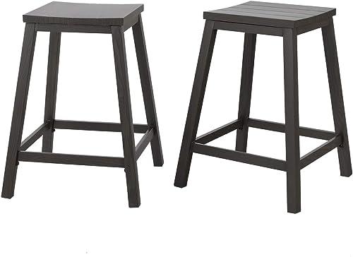 PHI VILLA Metal 25 Inch Counter Height Saddle Bar Stools Set of 2