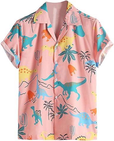 Camisas Casuales para Hombres Camisa Floral Rosa Camisa de ...