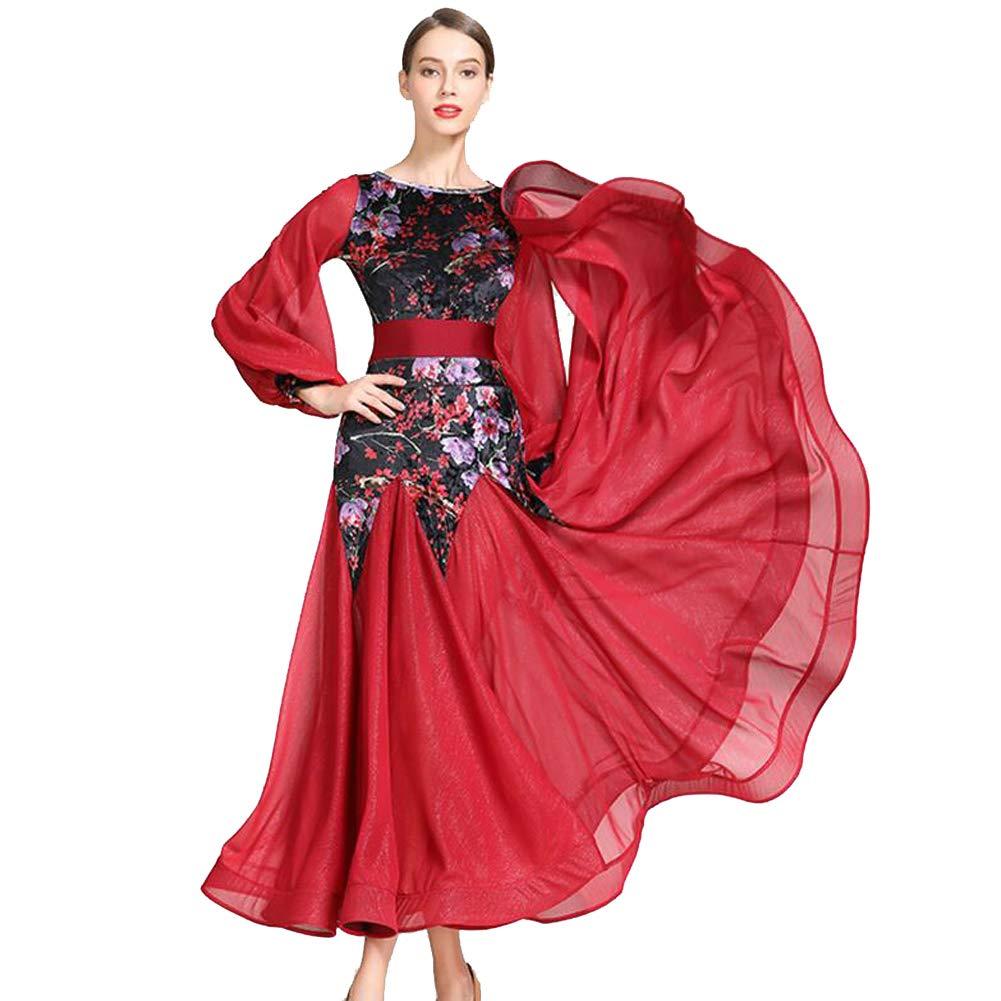 JRYYUE National Standard Ballsaal Tanz Outfit für Frauen Leistung Wettbewerb Tango Walzer Moderne Tanzkleider Tüll Moderner Rock B07PK8S9CL Bekleidung Ein Gleichgewicht zwischen Zähigkeit und Härte
