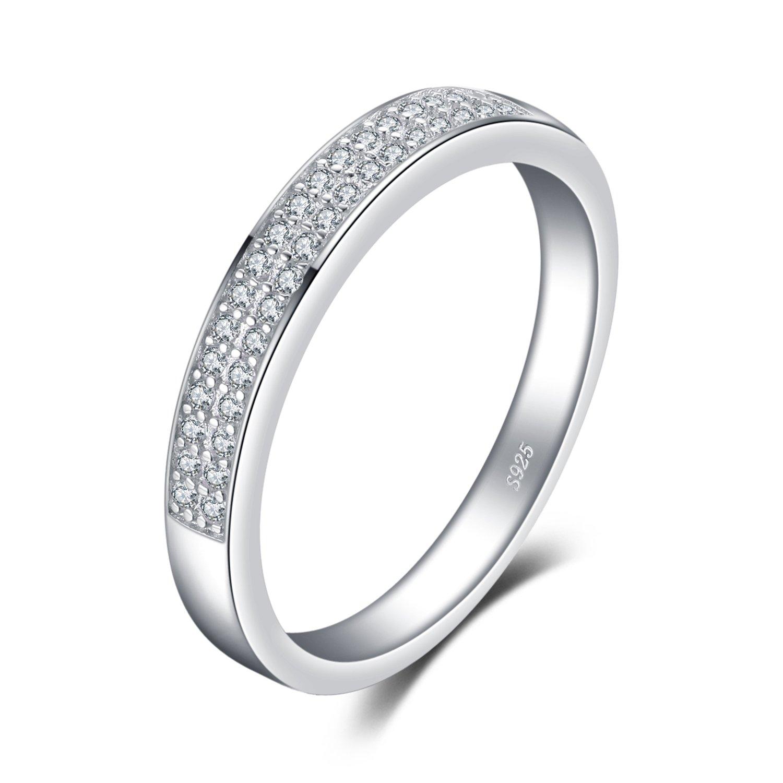 JewelryPalace Zircone Cubique Anniversaire Mariage Band Éternité Bague Canal Ensembles en Argent 925 EU-BR135899