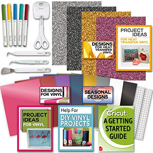 Cricut Tools Bundle Beginner Cricut Guide, Vinyl Pack, Basic Tools and Cricut Explore Fine Point Pens ()