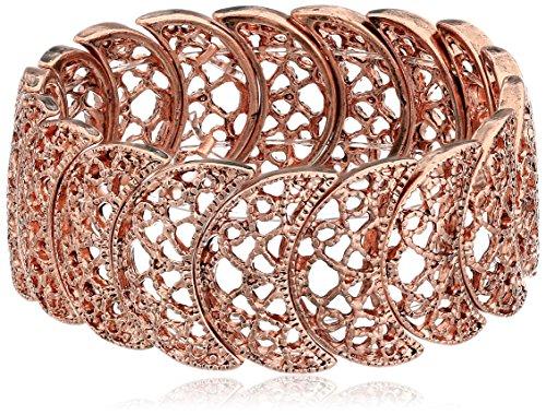 (1928 Jewelry Rose Gold-Tone Filigree Stretch Bracelet)