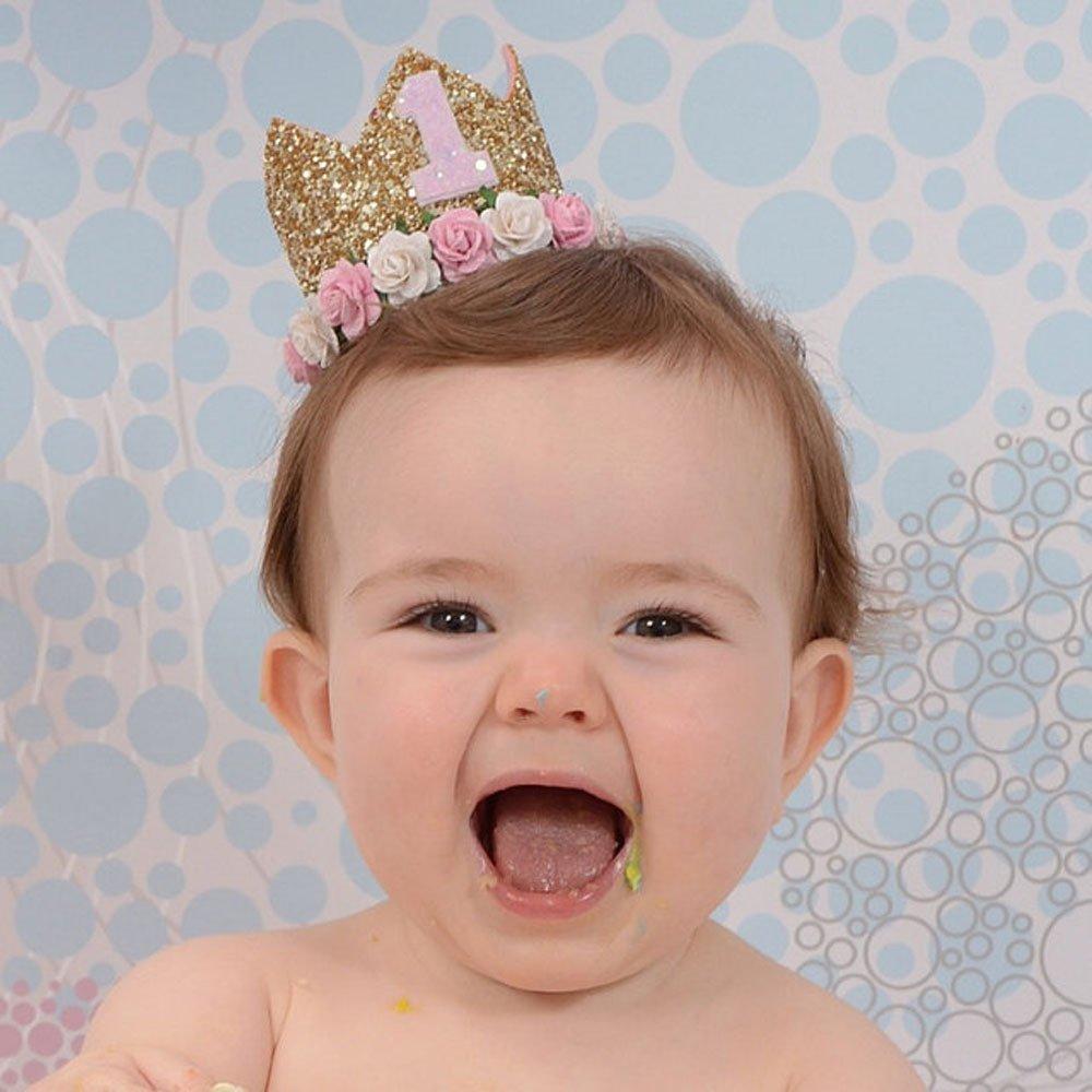 2 Missley Corona Rosa Flor Corona de Oro Corona de cumplea/ños Princesa beb/és Corona Cabeza Accesorios de Pelo