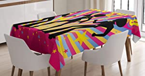 "Ambesonne 70s Party Tablecloth, Dancing People Silhouettes with Afro Hair Disco Party and Funky Display Print, Rectangular Table Cover for Dining Room Kitchen Decor, 52"" X 70"", Pink Lavender"