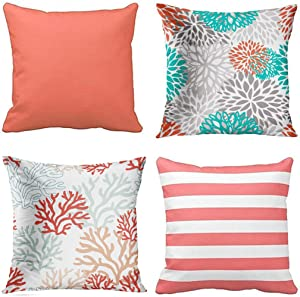 Emvency Set of 4 Throw Pillow Covers Coral and White Solid Color Etc Orange Gray Turquoise Decorative Pillow Cases Home Decor Square 18x18 Inches Pillowcases