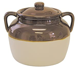 R&M International 7621 Traditional Style 4.5-Quart Large Ceramic Bean Pot with Lid, Brown