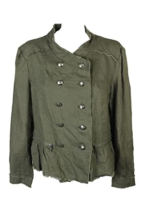 Image Unavailable. Image not available for. Color  INC International  Concepts Women s Linen Peplum Military Jacket Olive Drab Small 860e9028449