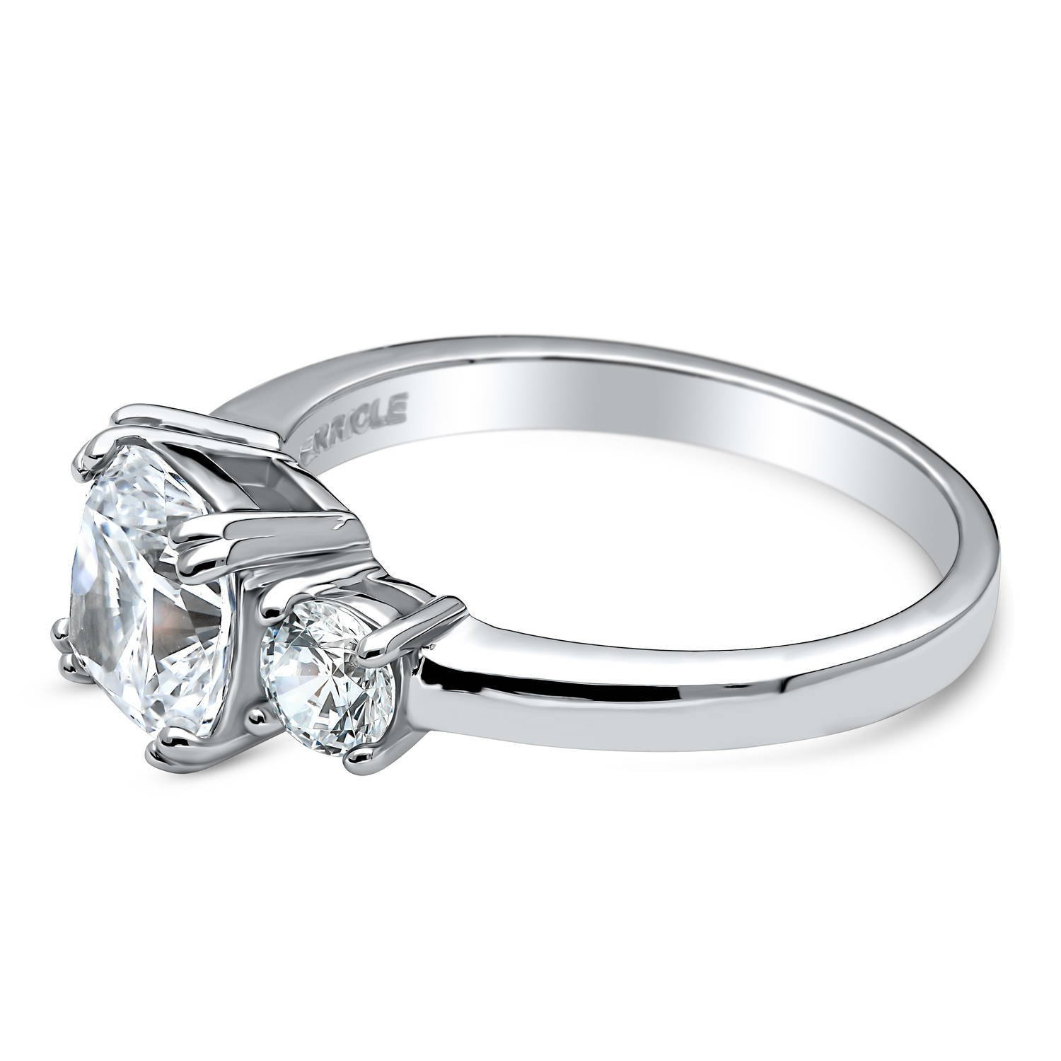 BERRICLE Rhodium Plated Silver Cushion Cut Cubic Zirconia CZ 3-Stone Promise Engagement Ring Size 8.5 by BERRICLE (Image #3)