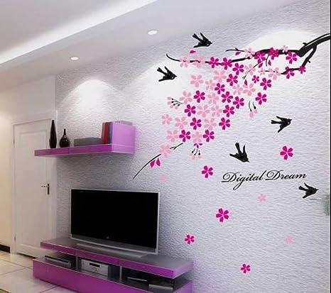 Decals Design Flower Branch with Birds Wall Sticker (PVC Vinyl, 50 cm x 70 cm),Multicolour