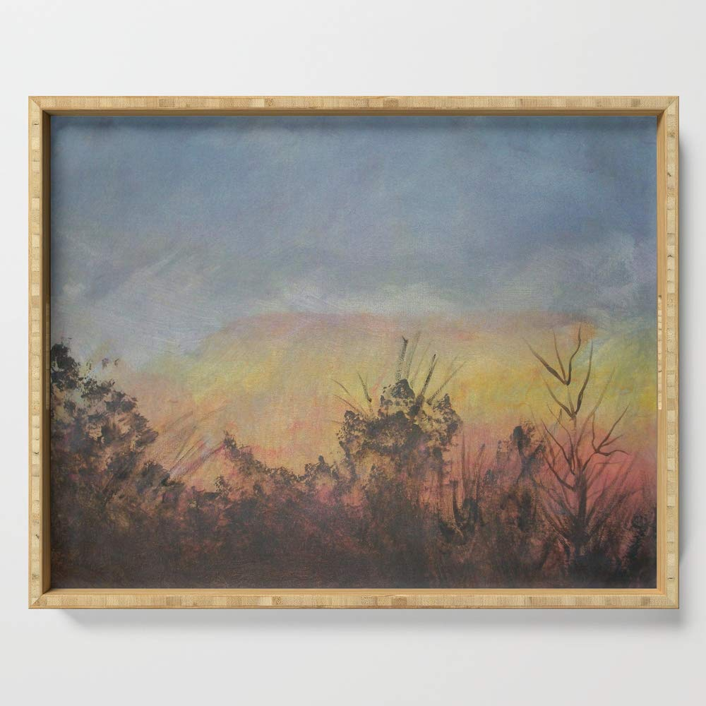 Society6 Serving Tray with handles, 18'' x 14'' x 1 3/4'', Sunset Outside My Window by autisticowl