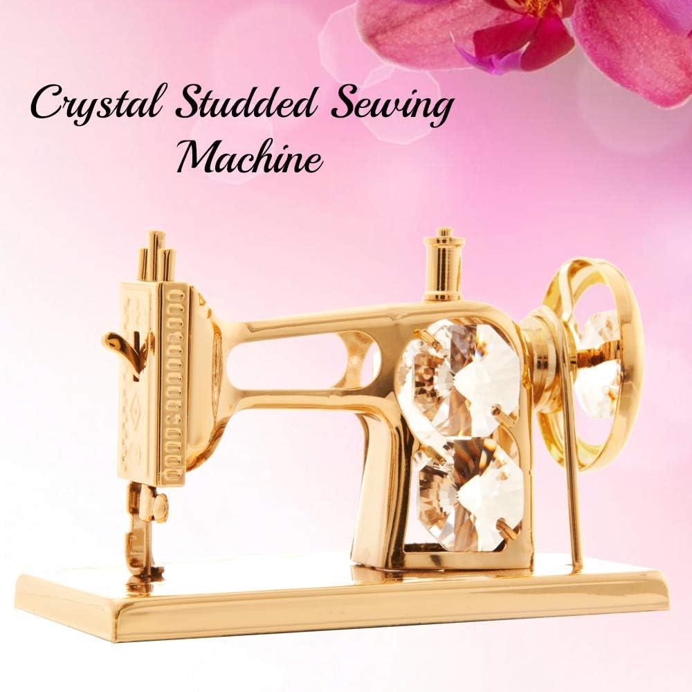 Maquina de coser bañada en oro de 24 quilates incrustados con auténticos cristales Matashi: Amazon.es: Hogar