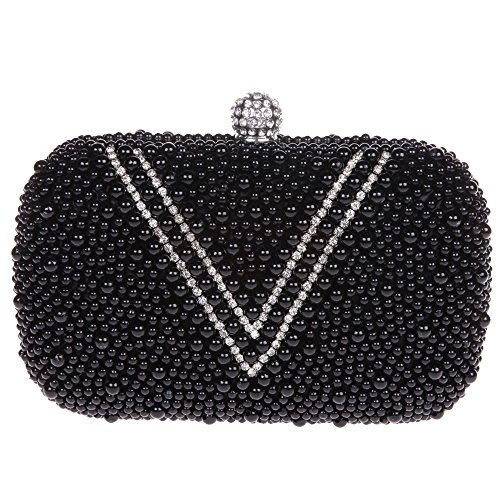 Fawziya V Shape Pearl Clutch Purse Rhinestone Beaded Handbags For Women-Black Black Glass Beaded Purse