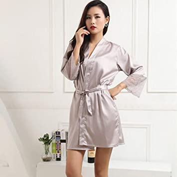 Lou Lou Braguitas Kimono túnica Corta para Mujer Lencería Nupcial de Encaje Sedoso Satinado Ropa de Dormir (Color : B, tamaño : M): Amazon.es: Deportes y ...