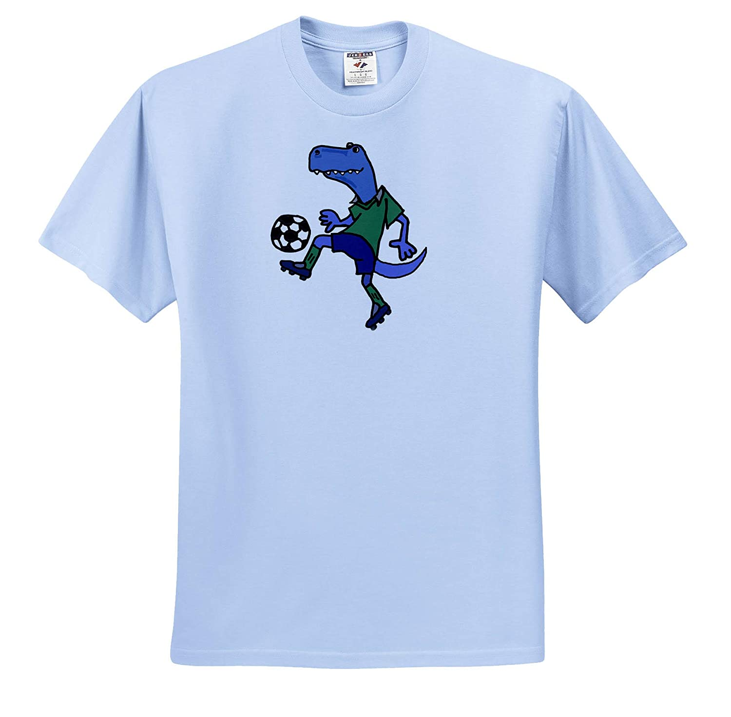 T-Shirts Cute Funny T-rex Dinosaur Playing Soccer Action Cartoon 3dRose All Smiles Art Animals