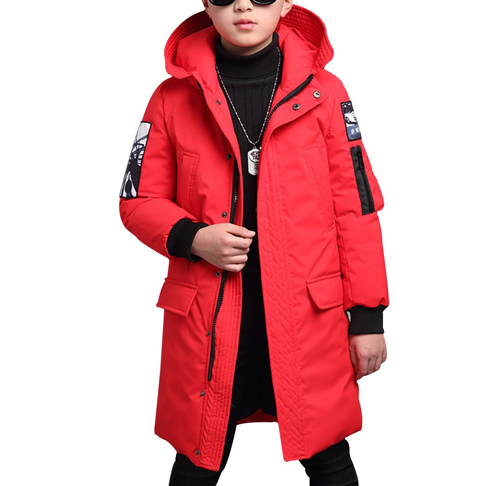 OCHENTA Boys Winter Hooded Mid-Long Cotton Coat Jacket Age of 4-11