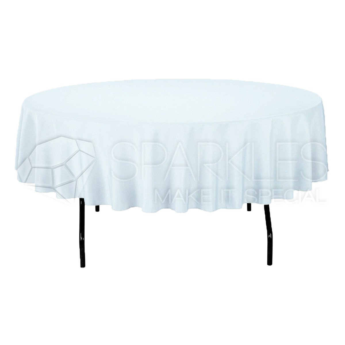Sparkles Make It Special 5-pcs 90'' Inch Round Polyester Cloth Fabric Linen Tablecloth - Wedding Reception Restaurant Banquet Party - Machine Washable - White