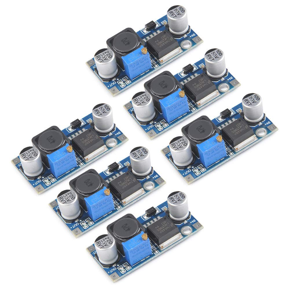 QLOUNI 6 Pcs LM2596 DC-DC Buck Converter 3.0-40V to 1.5-35V Adjustable Boost Converter Power Supply Step Down Regulator Dc-to-DC Module