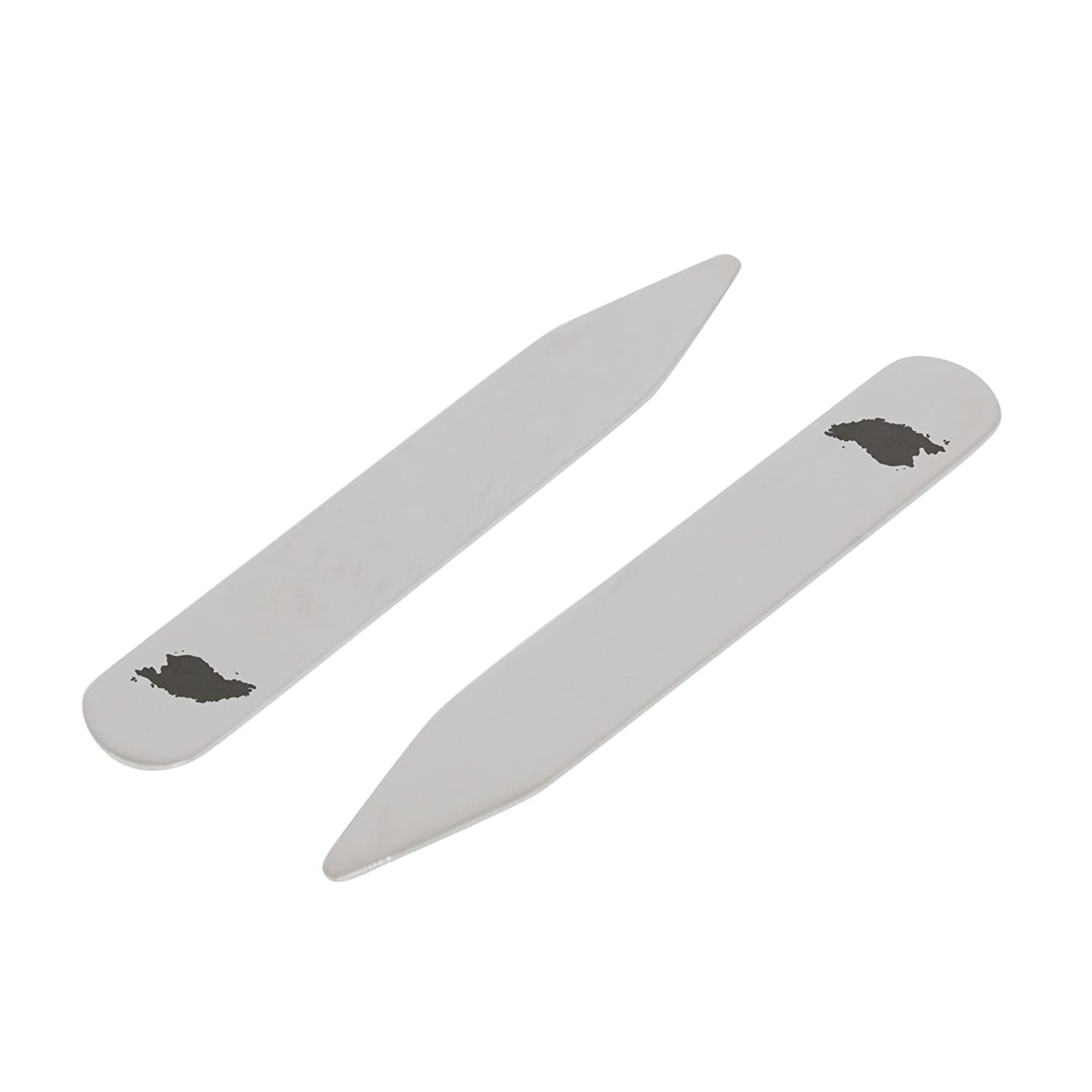 Made In USA 2.5 Inch Metal Collar Stiffeners MODERN GOODS SHOP Stainless Steel Collar Stays With Laser Engraved Malaysia Design