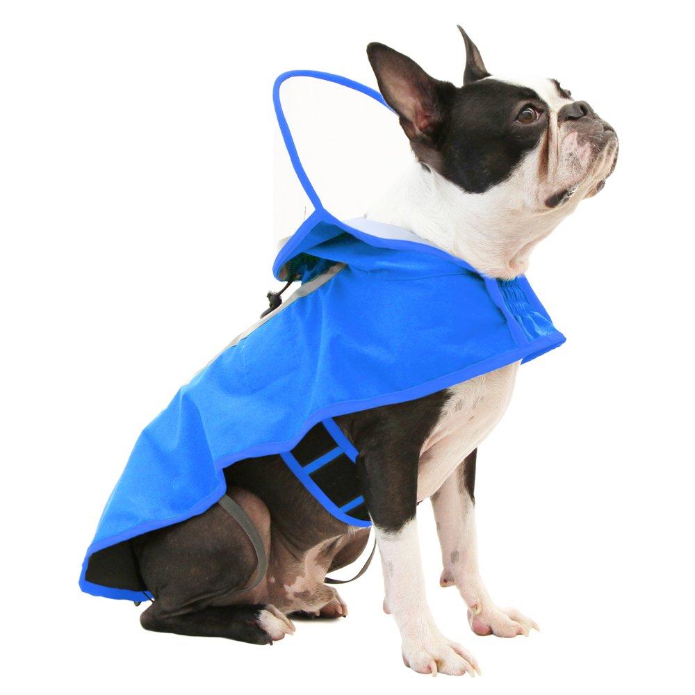 Gooby Dog Full Range Rain Coat with Adjustable Hood Cap, X-Large, Blue