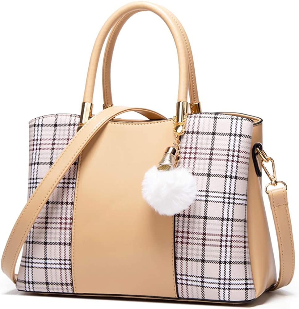 MORGLOVE Ladies Handbag Plaid Fashion Women Top Handle Bag PU Leather Shoulder Bag with Many Pockets for Work and Daily Use