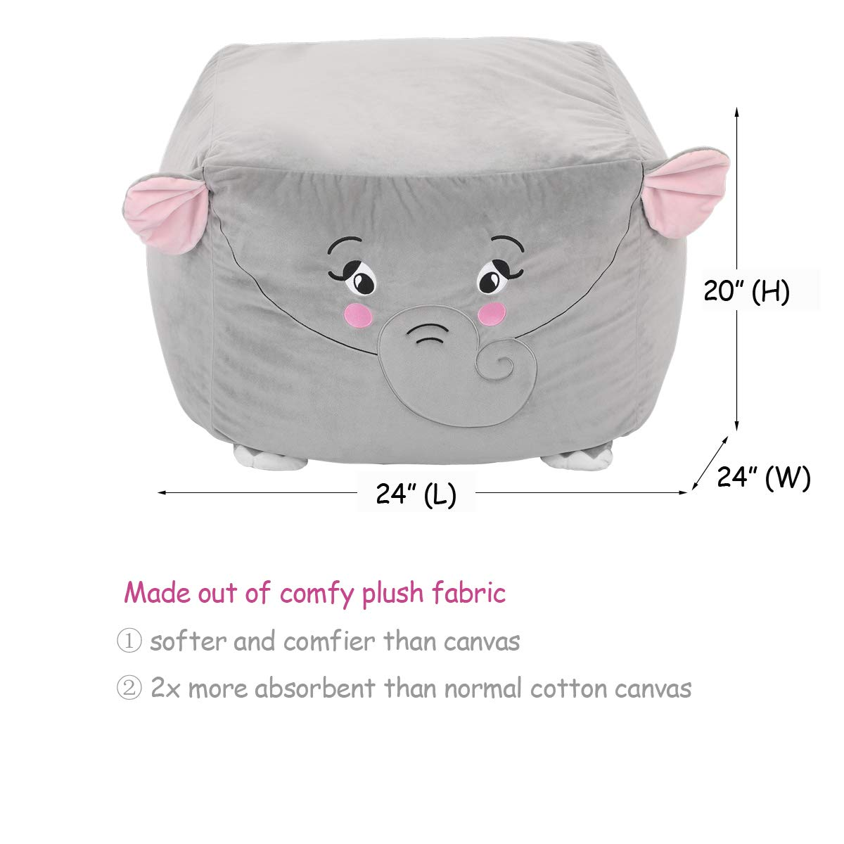 youngeyee Giant Elephant Stuffed Animal Storage Kids Bean Bag Chair Cover 24x24x20 Inches Velvet Toy Organization Storage Zipper Bags for Plush Toy Pillows Blankets Towels Clothes