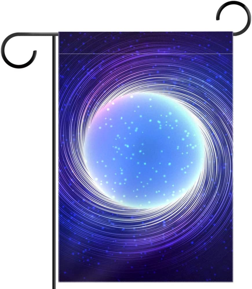 Lyetny Blue Shining Cosmic Neon Light Twirl Garden Yard Flag Polyester Fabric Home Decorative Flags, 12x18 in (Without Flagpole)