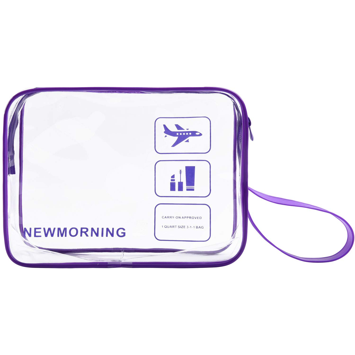 Travel Accessories TSA Approved Bag Travel Clear Toiletry Bag Quart Size 3-1-1with Zipper For Airline Cosmetic Bag Small luggage Travel Bag For liquids,Toothbrush,Razor.etc For Men Women Child.Purple