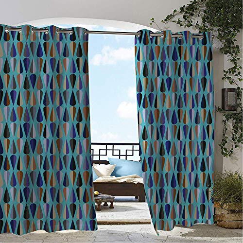 Linhomedecor Patio Waterproof Curtain Mid Century Modern Long and Slender Drop Shaped Motifs in Various Tones Repeating Print Multicolor doorways Grommets Cabana Curtains 96 by 84 inch
