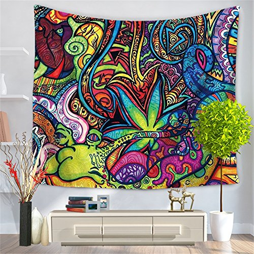 - Arabesque Retro Pattern Wall Hanging Psychedelic Tapestry Ethnical Intricate Indian Bedspread Throw Blanket Home Room Wall Decor New Age Dorm Tapestry HYC23-US (#3)