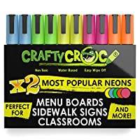 Crafty Croc Liquid Chalk Markers, 10 Pack of Neon Chalk Pens, for Nonporous Chalkboards, Bistro Boards, Glass and Windows