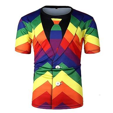 MYONA Camiseta Hombre Manga Corta Casual, 3D Camisas Cuello ...