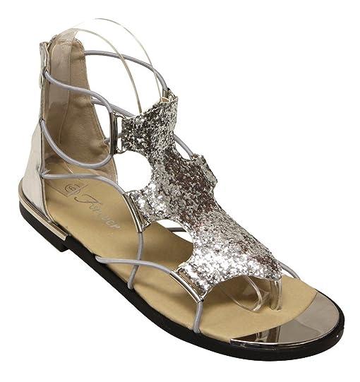Rosie-30 Women's Glitter Gold Trim Stripes Zip Closure Metallic Flat Sandals