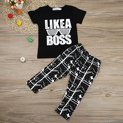 Omiky® Kinder Säuglingsbaby Brief T-Shirt Tops Hosen Outfits Kleidung Set Schwarz