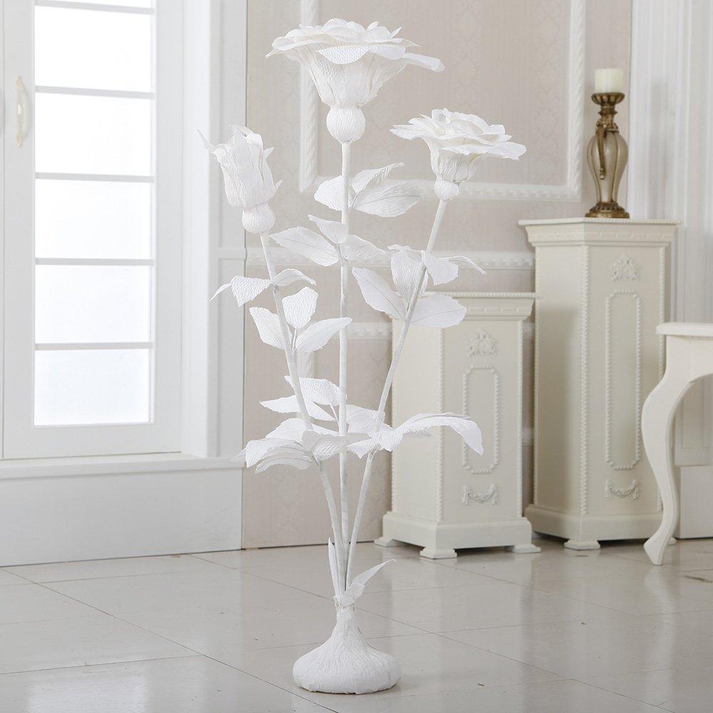 ZF267 45'' Free Standing Paper Roses(White, 4pcs) by Flora Bunda