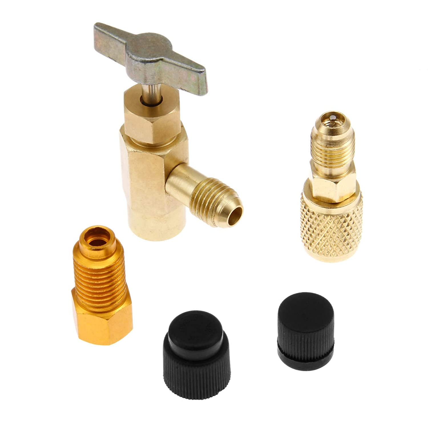AjaxStore R-1234yf Can Tap Kits Brass Air-conditioning Adapters 1//2 Female x 1//4 Male ACME Valve Core A//C System Seal Caps