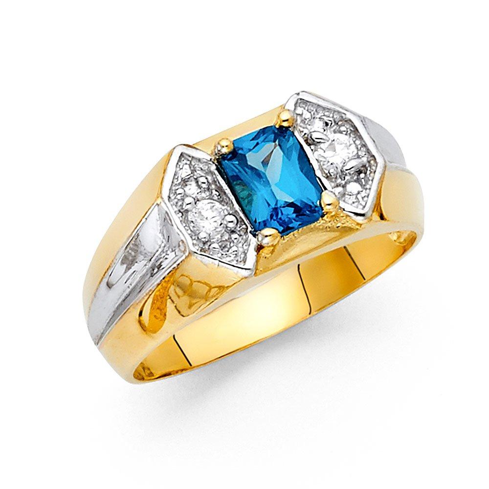 14K Solid Yellow Gold Blue Princess Cut Cubic Zirconia Men 10mm Ring, Size 10