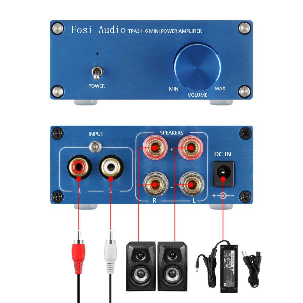 2 canales de clase D mini amplificador para los altavoces caseros 100W + adaptador de corriente TPA3116: Amazon.es: Electrónica