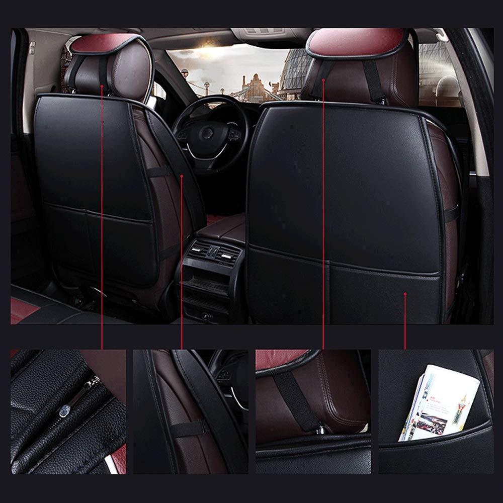 5-Sitzer-Komplettsatz Universal-kompatible Airbags vorne und hinten atmungsaktiv hochwertiges Leder Comfort Protector Pad DaFei Autositzbez/üge Farbe : Rot