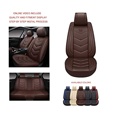 OASIS AUTO OS-003 Leather Car Seat Covers, Faux Leatherette Automotive Vehicle Cushion Cover for Cars SUV Small Pick Up Truck Universal Fit Set Compatible with Toyota-Nissan-Honda-Jeep-Subaru (Brown): Automotive