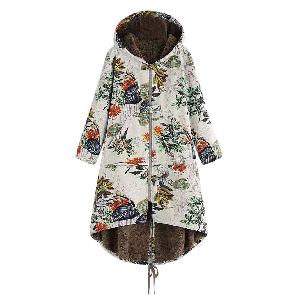 Plus Size Women Winter Warm Velvet Hooded Coat Vintage Floral Printed Thicker Zipper Jacket Outwear Overcoat S-5XL (Small, White) by Aritone
