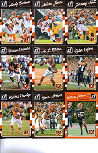- 2016 Donruss Football Cincinnati Bengals Team Set of 11 Cards: Andy Dalton(#58), Adam Jones(#59), Jeremy Hill(#60), Giovani Bernard(#61), A.J. Green(#62), Tyler Eifert(#63), Carlos Dunlap(#64), Geno Atkins(#65), Ickey Woods(#66), William Jackson III(#348), Tyler Boyd(#397)