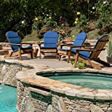 Great Deal Furniture Terry Outdoor Adirondack Chair Cushion (Set of 4), Navy Blue