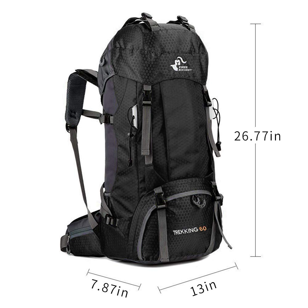 60L Waterproof Ultra Lightweight Frameless Hiking Backpack with Rain Cover,Frameless,Outdoor Sport Daypack Travel Bag for Climbing Camping Touring Mountaineering Fishing