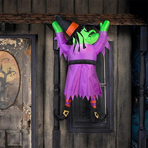Gemmy Halloween Inflatable 5' LED Hanging Witch, Purple, One ()