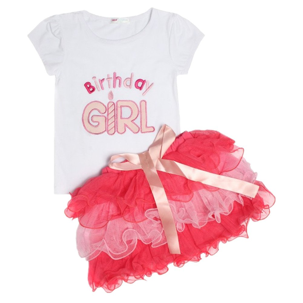 LittleSpring Toddler Girls Birthday Outfit Cute 4T Pink