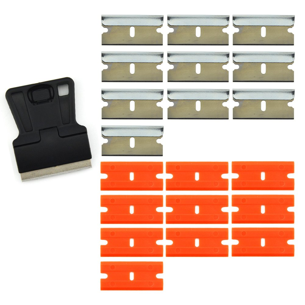 FOSHIO 1.5' Mini Razor Blade Scraper with 10PCS Carbon Steel Razor Blades and 10PCS Safety Double Edge Plastic Razor Blades for Removing Old Vinyl and Window Glass Cleaning.