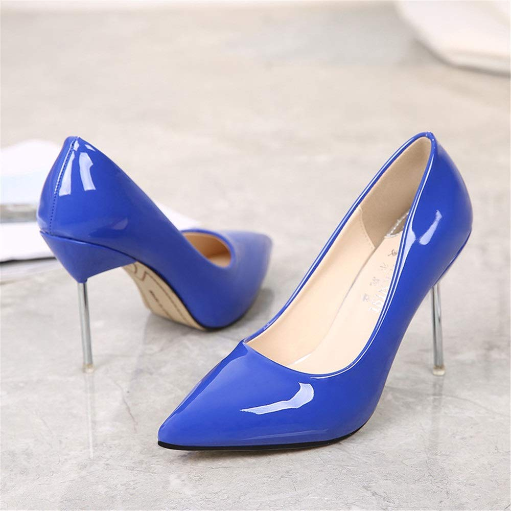 bluee MKJYDM High Heels Wedding Party shoes Women's Dress Court shoes Pointed High Heels High-Heeled shoes Evening Dress Pump shoes Solid color Office 10cm Women's high Heels (color   bluee, Size   7 US)