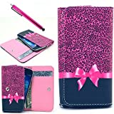 LG G3 Case, Jcmax Cute Lovely Purse Case, Premium Flip Pink PU Leather Wallet Case Purse Pouch With Card Slots and Cash Compartment For LG G3 [Butterfly Knot] + One Stylus