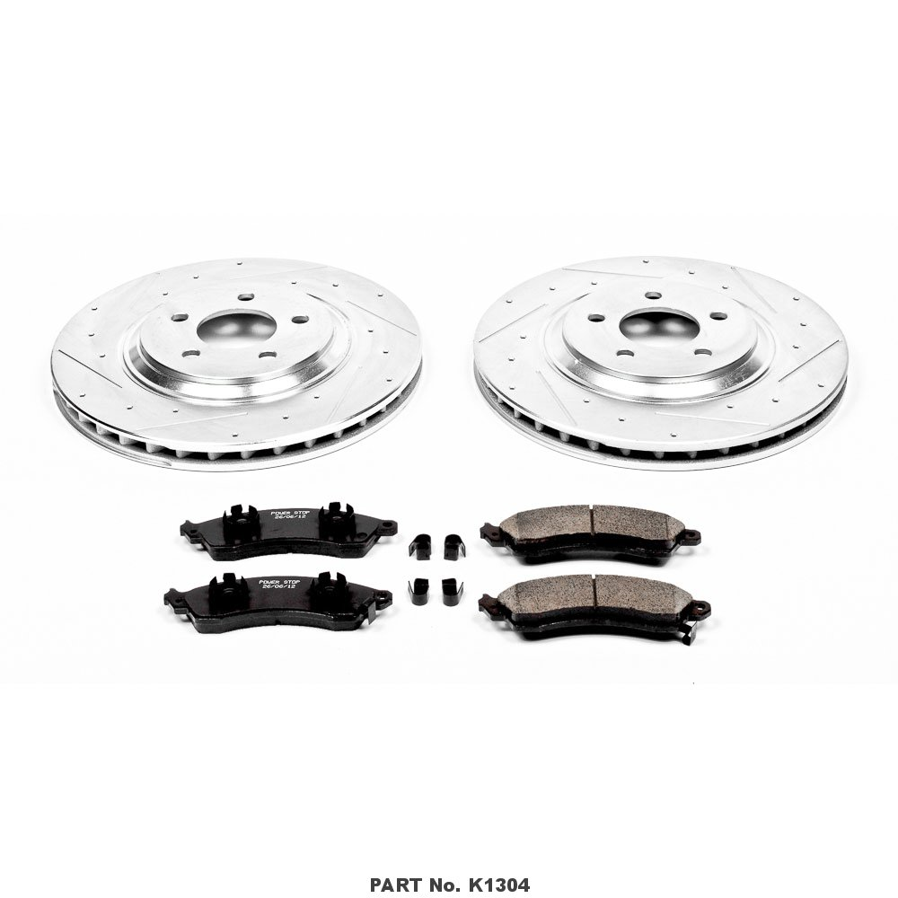 Power Stop K1304 Front Z23 Evolution Brake Kit with Drilled//Slotted Rotors and Ceramic Brake Pads